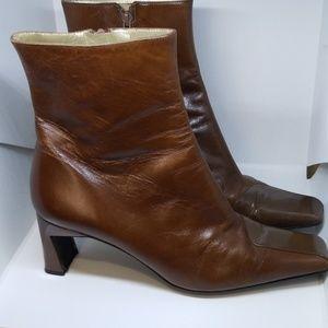 Charles Jourdan paris brown leather 2 tone booties